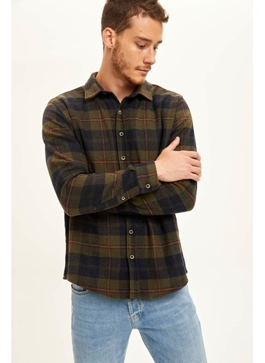 DeFacto Regular Fit Uzun Kollu Oduncu Gömlek Haki